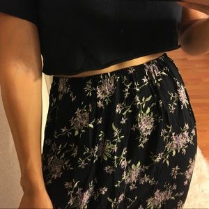 vintage black and purple floral maxi